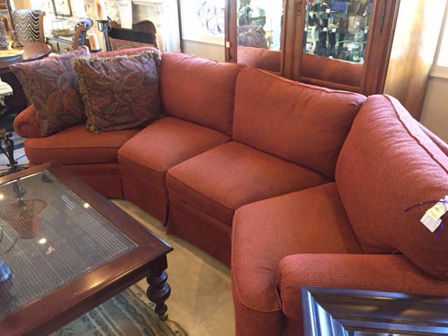 Sherrill Furniture Angled Sectional Sofa - Rust